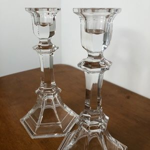 Glass Crystal Glass Taper Candle Holders